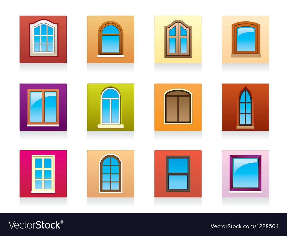 Plastic aluminum and wooden windows vector | Price: 1 Credit (USD $1)
