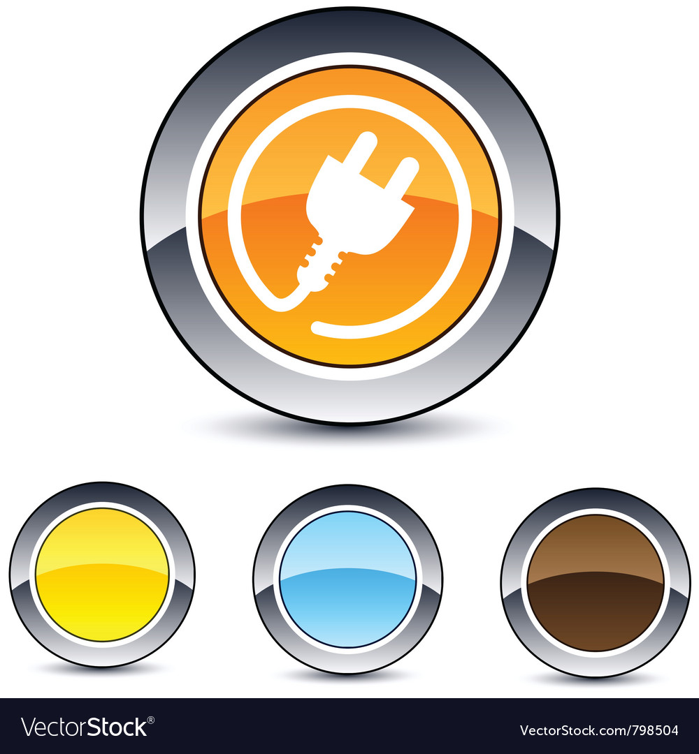 Power plug round button vector | Price: 1 Credit (USD $1)