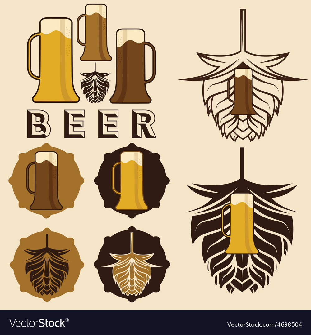 Set of beer labels with mugs and hops vector | Price: 1 Credit (USD $1)