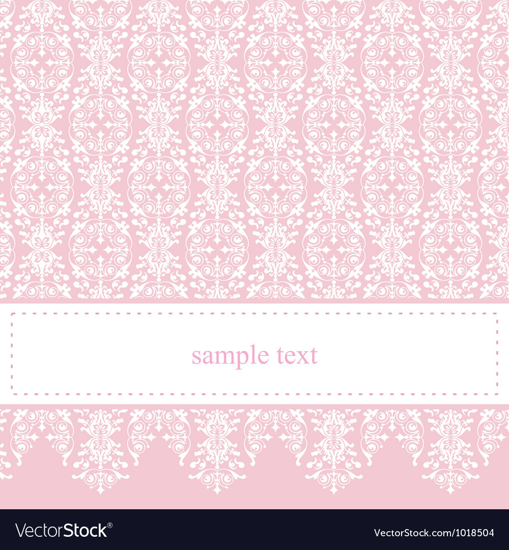 Sweet elegant baby pink lace card or invitation vector | Price: 1 Credit (USD $1)