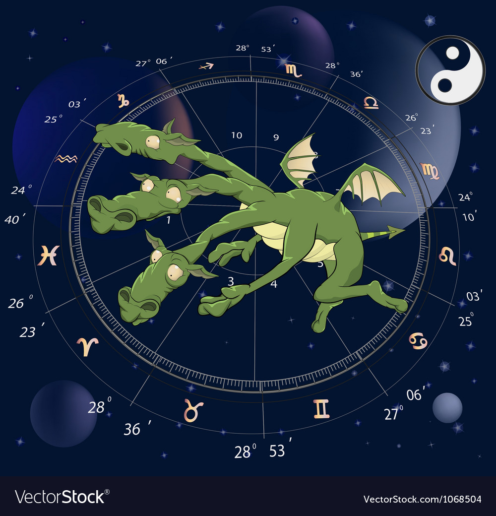 Zodiac signs dragon vector | Price: 1 Credit (USD $1)