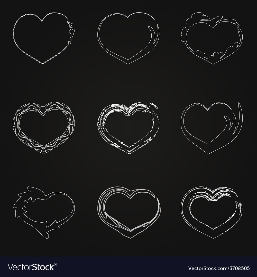 Abstract white unhappy heart icons vector | Price: 1 Credit (USD $1)