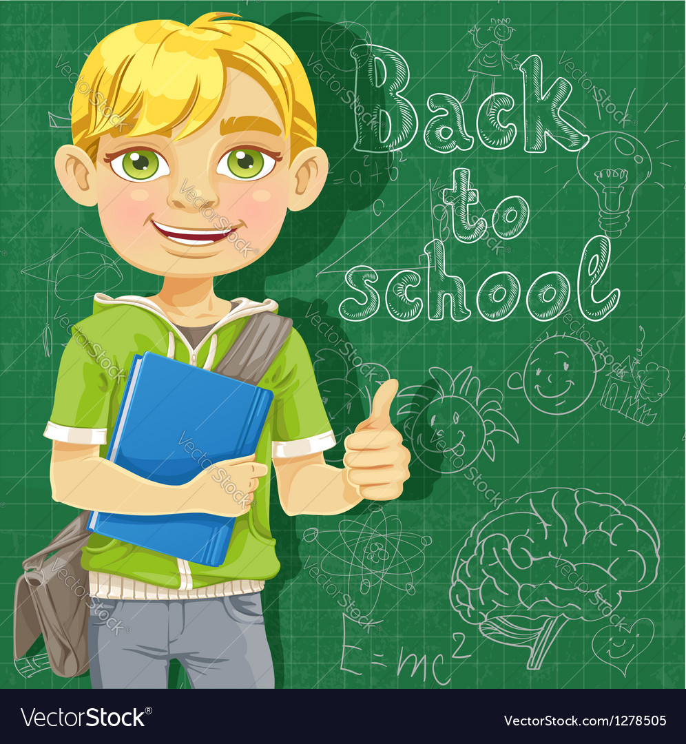 Blond teenage boy near school board vector | Price: 1 Credit (USD $1)