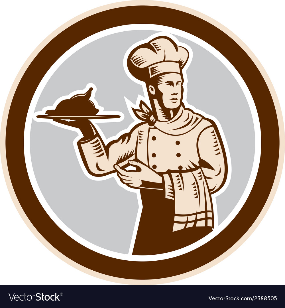 Chef cook serving food platter circle retro vector | Price: 1 Credit (USD $1)