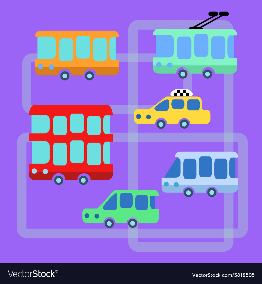 Collection urban public transport bus taxi trolley vector | Price: 1 Credit (USD $1)