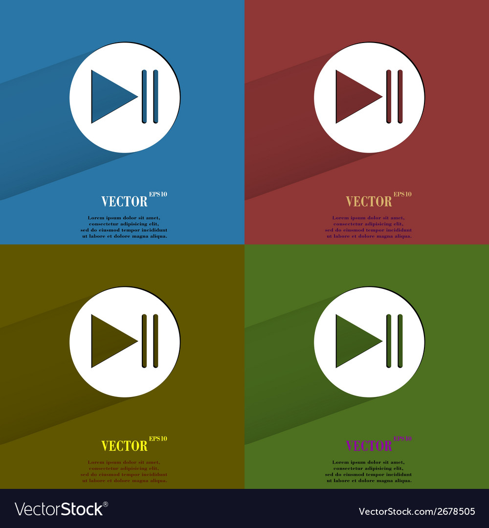 Color set play button web icon flat design vector | Price: 1 Credit (USD $1)