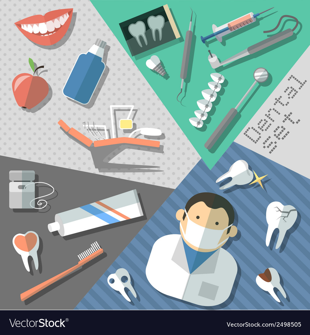 Dental stickers set vector | Price: 1 Credit (USD $1)