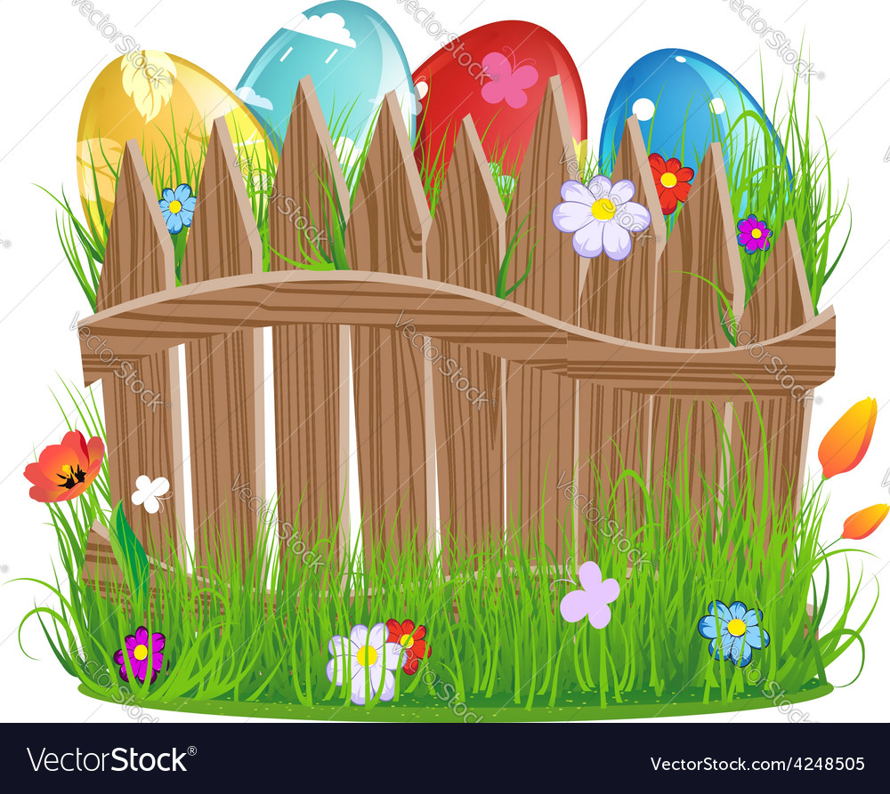 Easter eggs with grass and fence vector | Price: 3 Credit (USD $3)