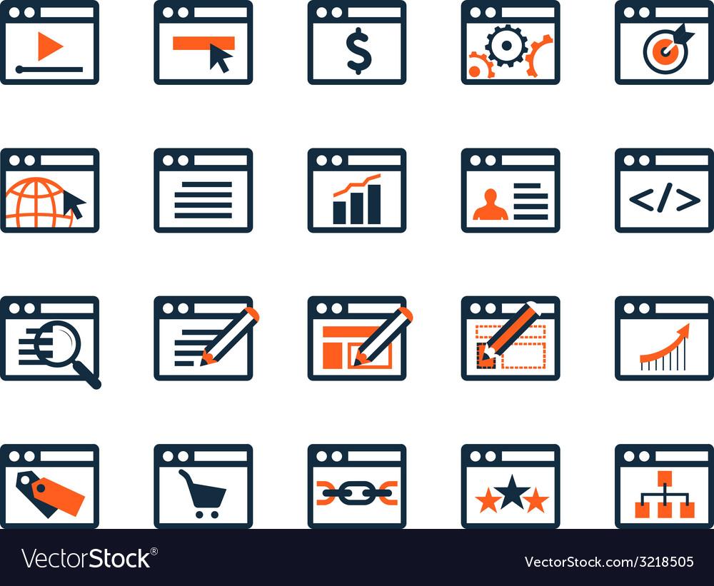 Icon set web development and seo flat design vector | Price: 1 Credit (USD $1)