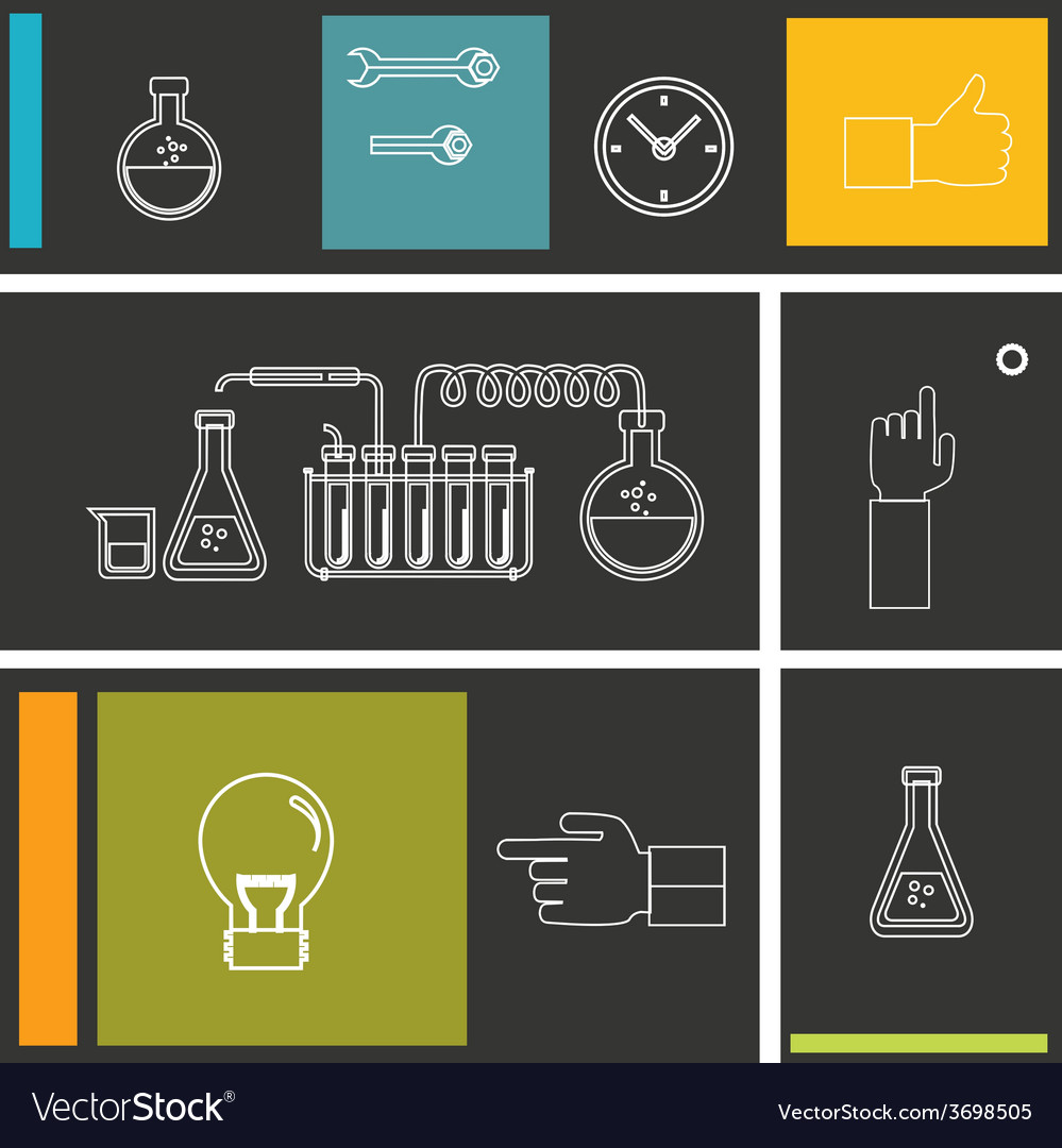 Set of flat design icon for experiment vector | Price: 1 Credit (USD $1)