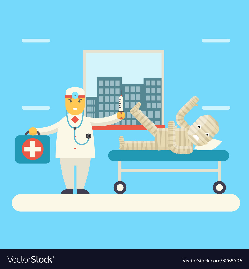 Doctor with bandaged patient characters icon vector | Price: 1 Credit (USD $1)