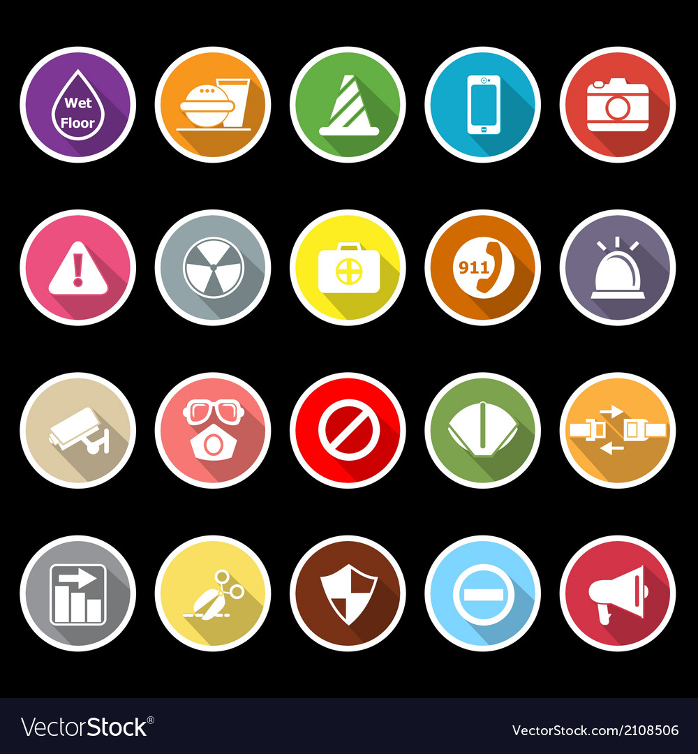 General useful icons with long shadow vector | Price: 1 Credit (USD $1)