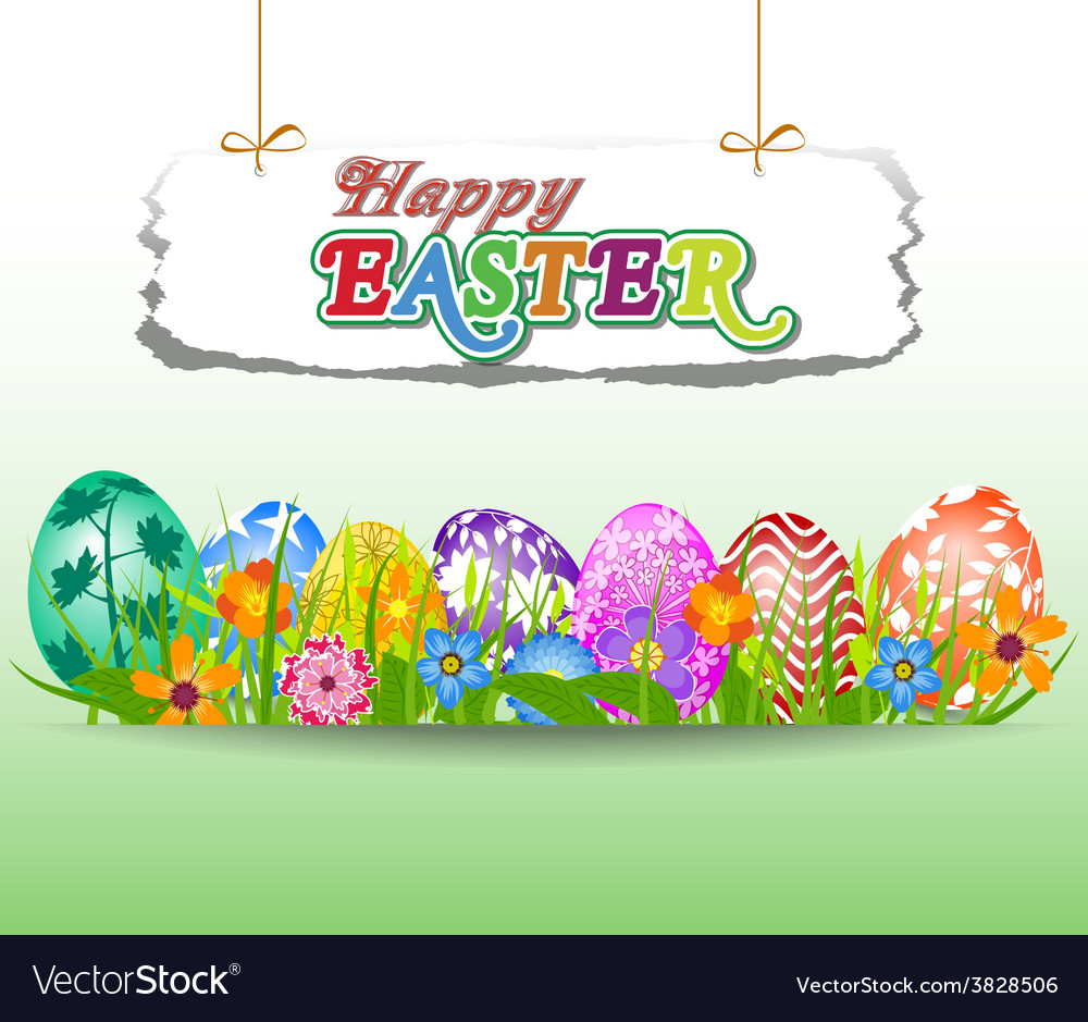 Happy easter background with eggs in grass and vector   Price: 1 Credit (USD $1)