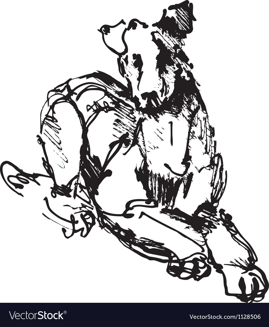 Ink sketch of dog playing young terrier vector | Price: 1 Credit (USD $1)