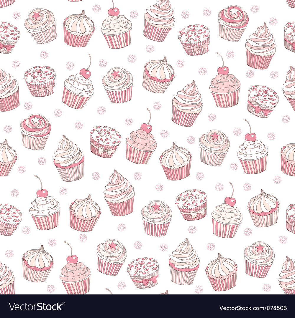 Seamless background cupcakes vector | Price: 1 Credit (USD $1)