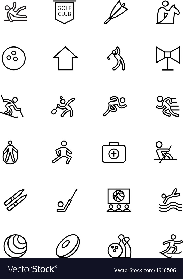 Sports line icons 7 vector