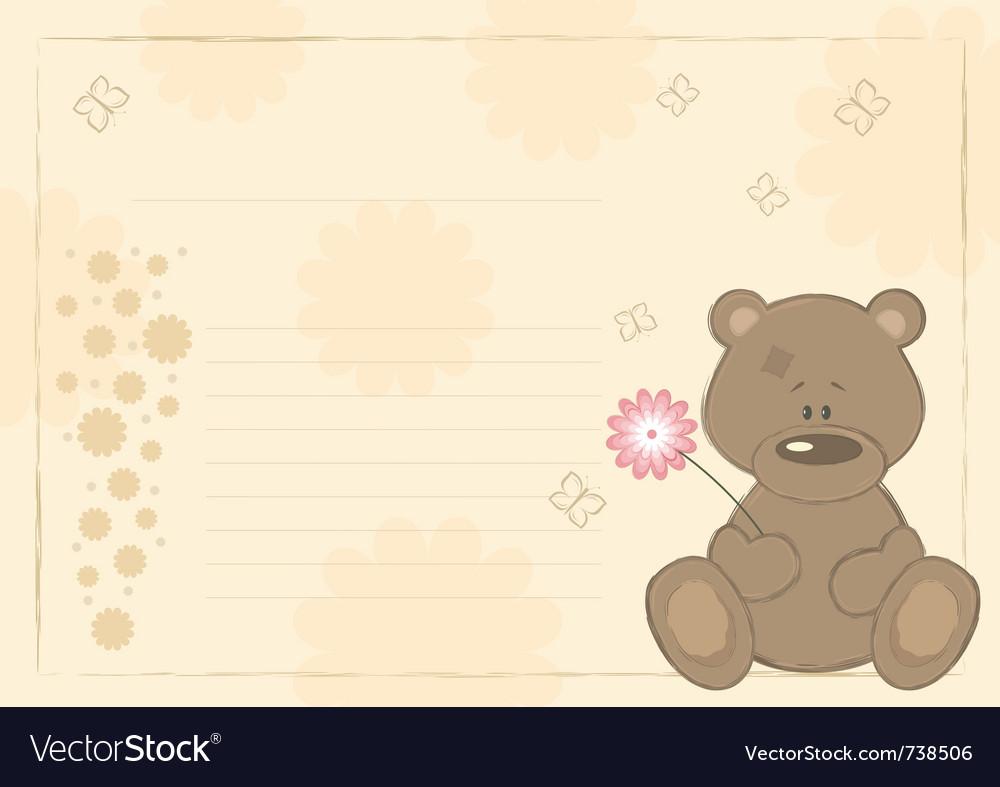 Teddy bear postcard vector | Price: 1 Credit (USD $1)