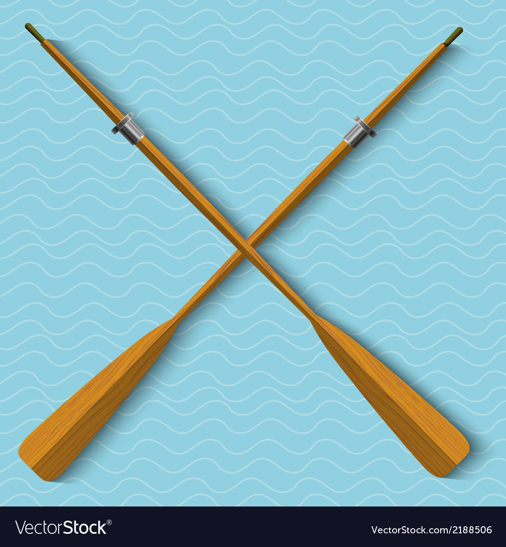 Two wooden oars on wavy background vector | Price: 1 Credit (USD $1)