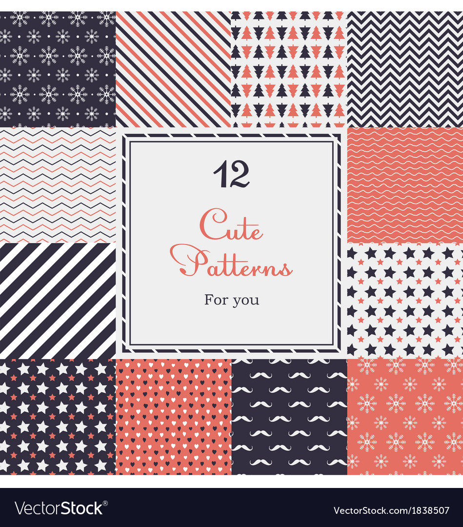 12 cute different seamless patterns vector | Price: 3 Credit (USD $3)