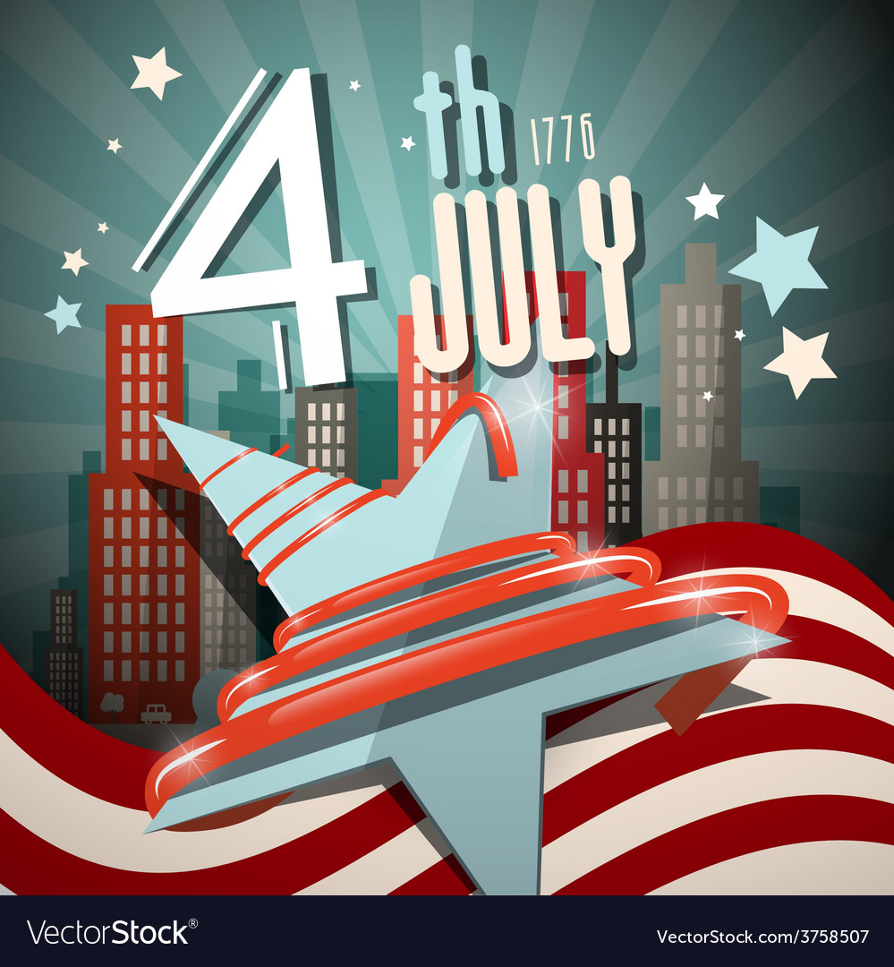 4 th july retro with flag star and city on vector | Price: 1 Credit (USD $1)
