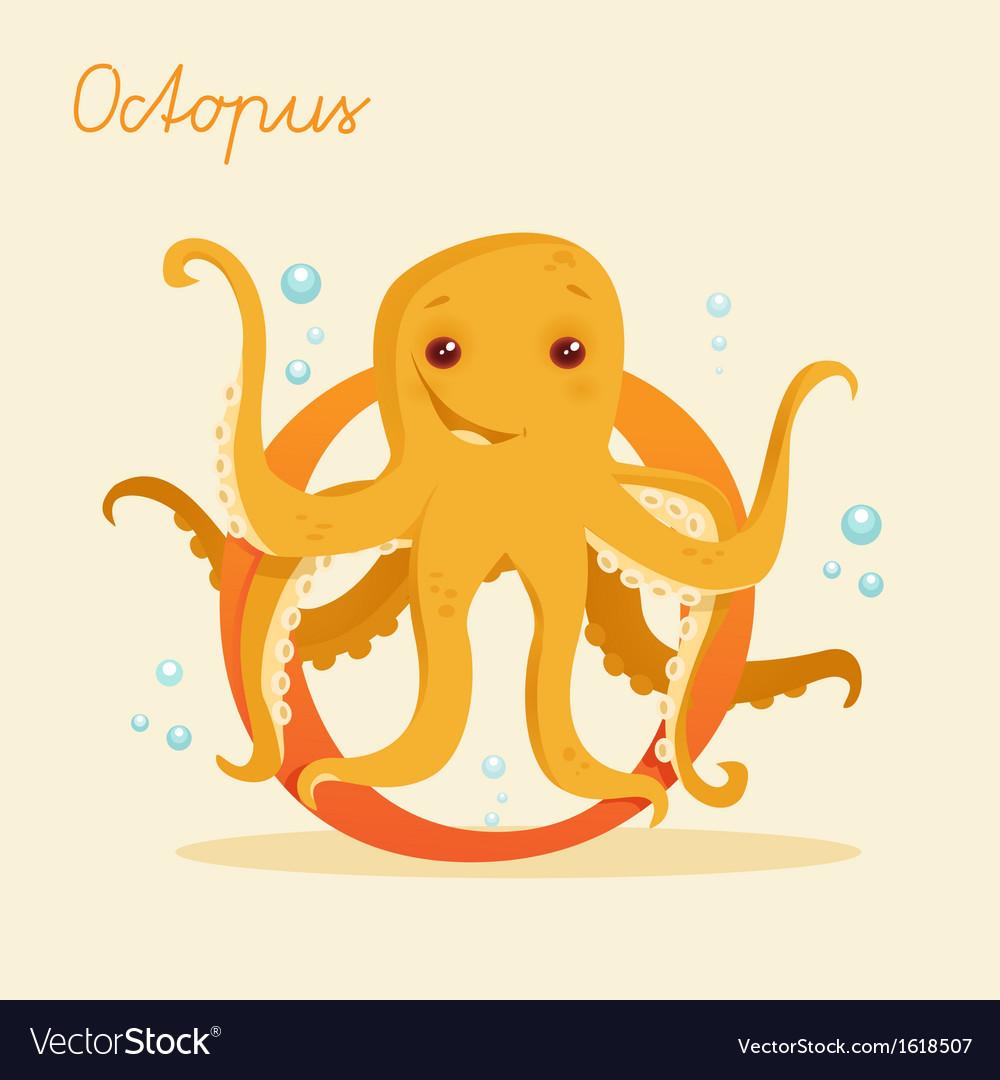 Animal alphabet with octopus vector   Price: 1 Credit (USD $1)