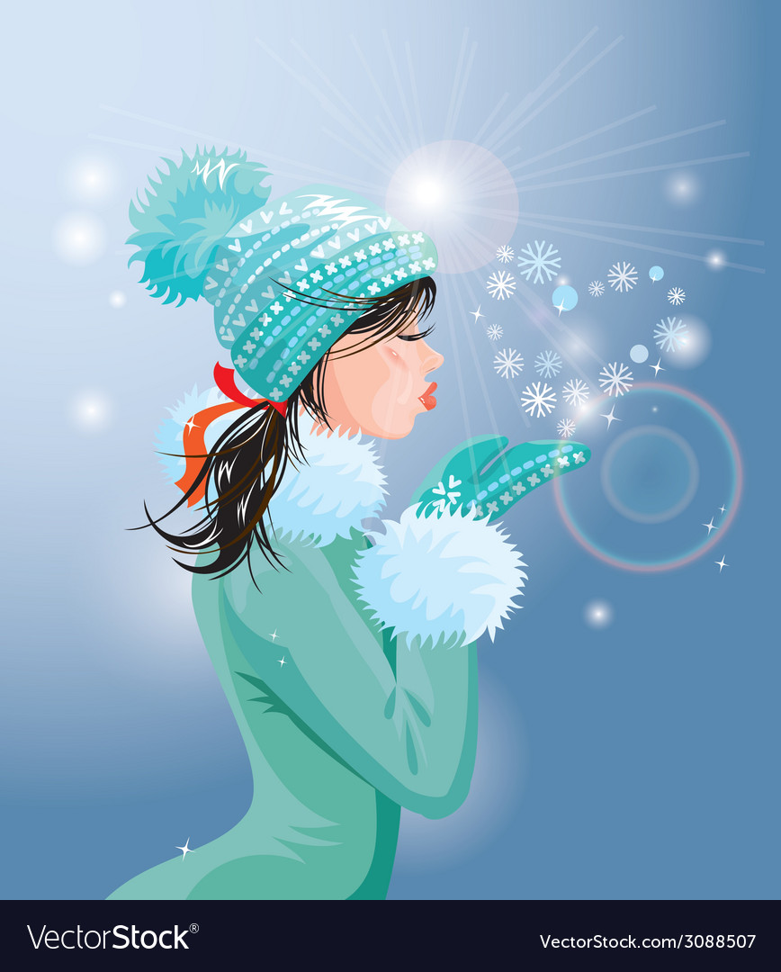 Beautiful brunette girl with warm blue winter hat vector | Price: 1 Credit (USD $1)