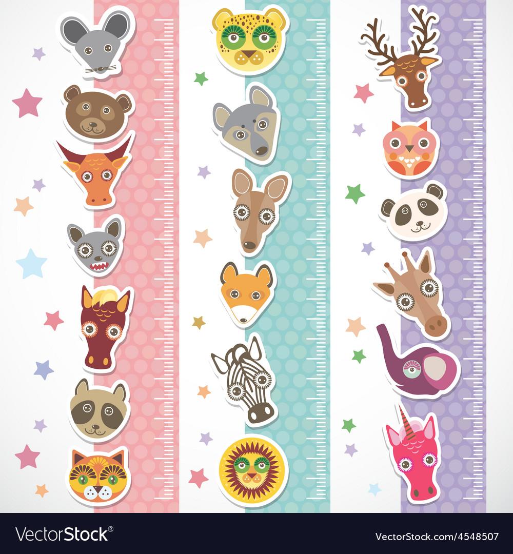 Children height meter wall sticker set funny vector | Price: 1 Credit (USD $1)