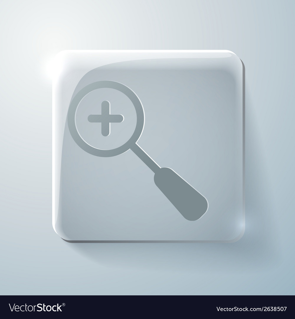 Glass square icon magnifier increase vector | Price: 1 Credit (USD $1)