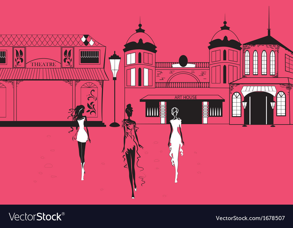 Graphic women silhouettes on street vector | Price: 1 Credit (USD $1)