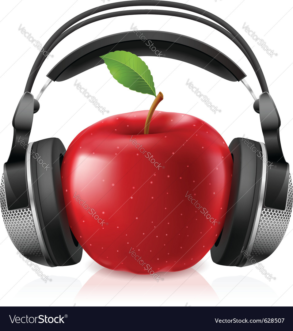 Headset on apple vector | Price: 3 Credit (USD $3)