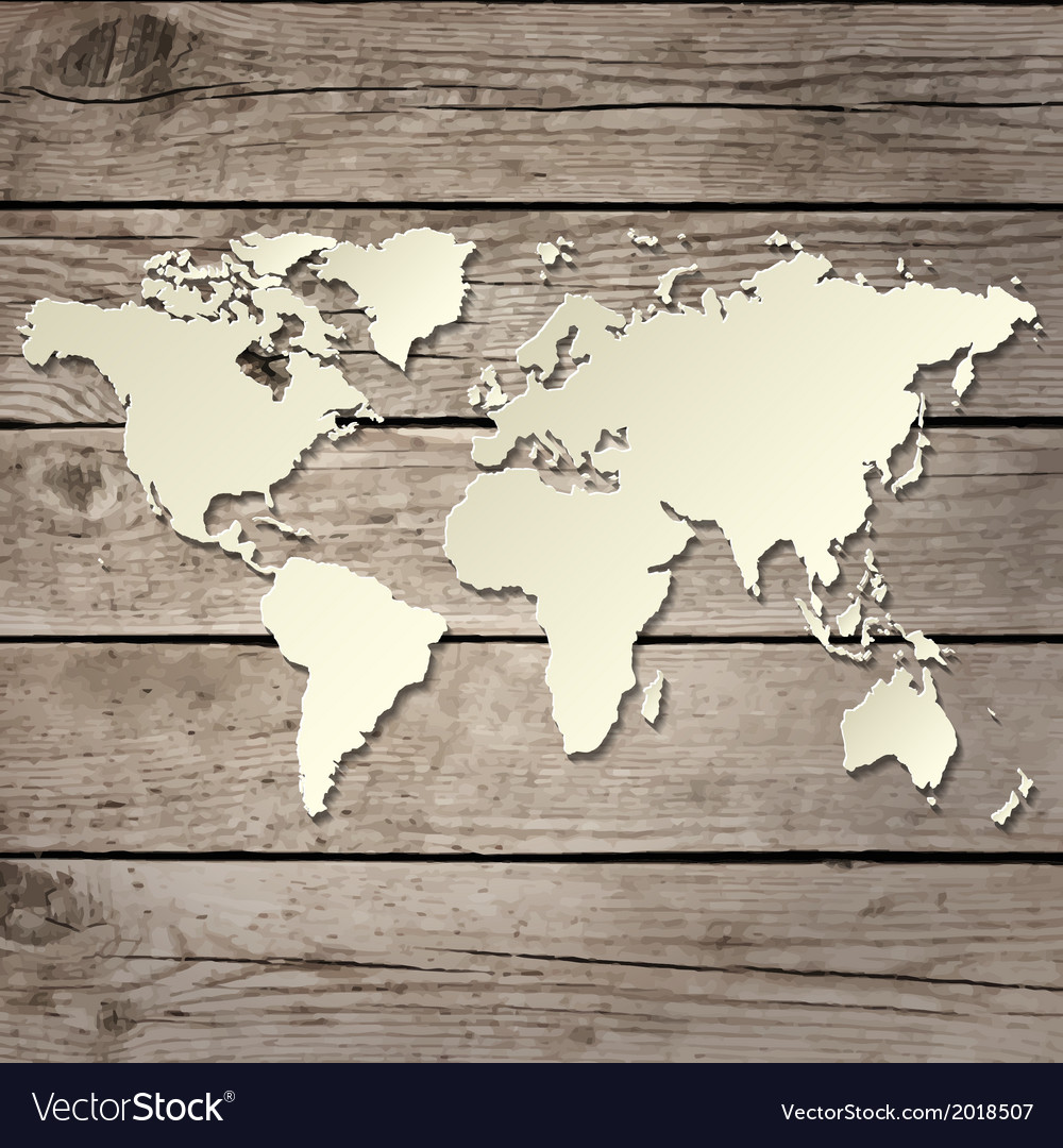 Paper world map on a wooden board vector | Price: 1 Credit (USD $1)