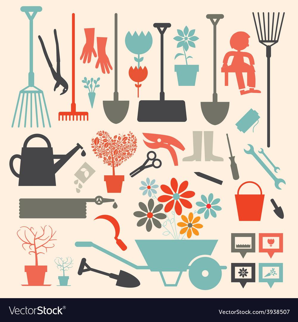 Retro gardening icons set vector | Price: 1 Credit (USD $1)