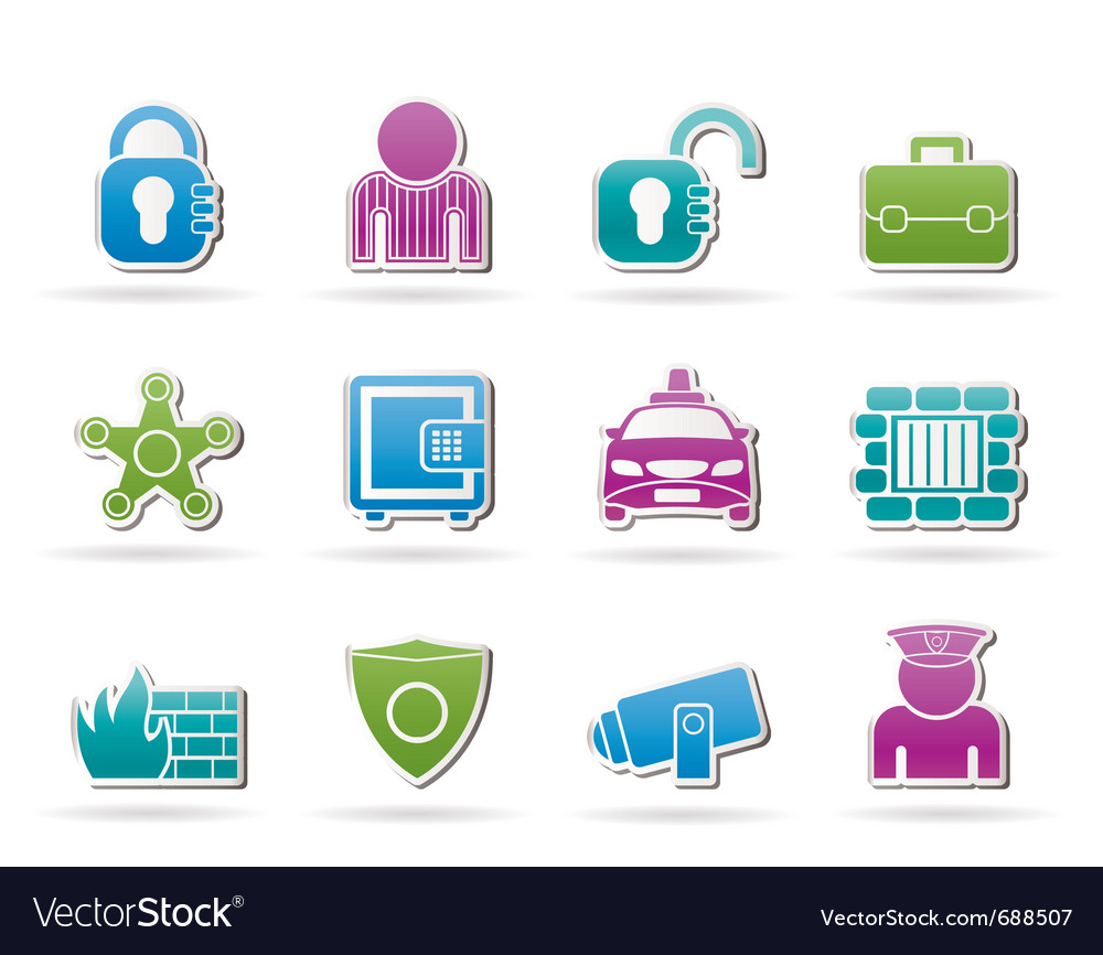 Social security and police icons vector | Price: 1 Credit (USD $1)
