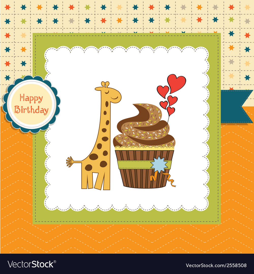 Birthday greeting card with cupcake and giraffe vector | Price: 1 Credit (USD $1)