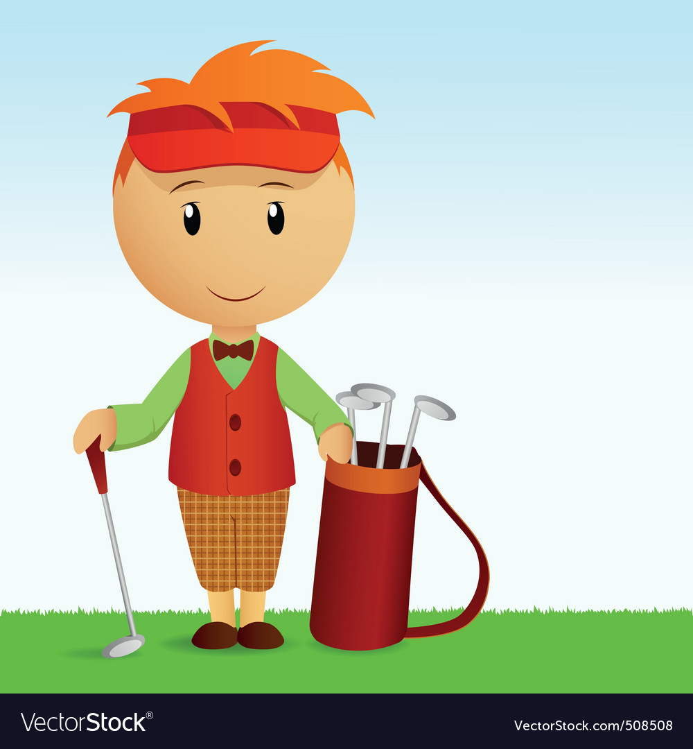 Cartoon young man with bag of golf clubs vector | Price: 1 Credit (USD $1)
