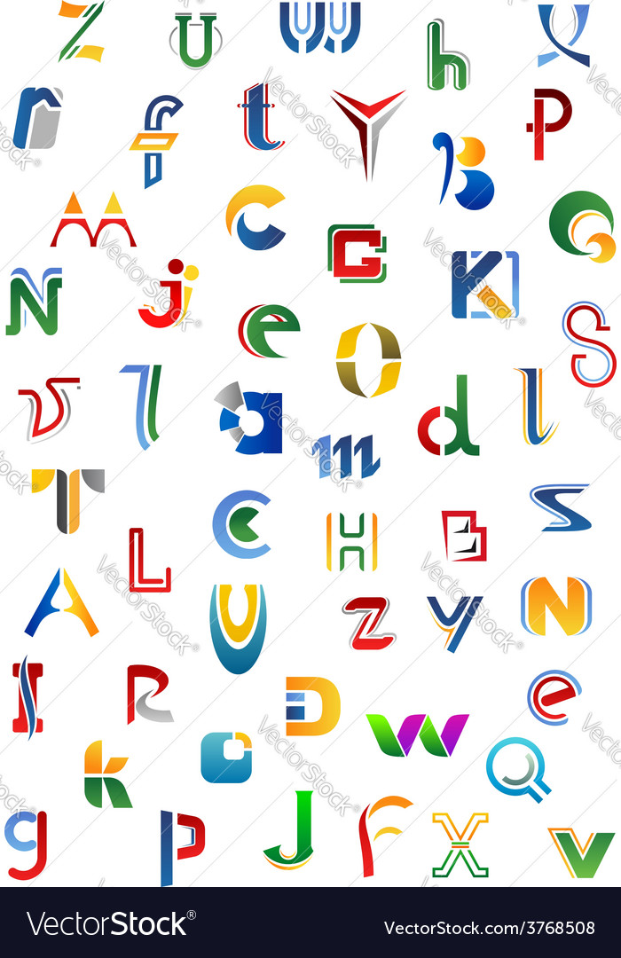 Colorful alphabet letters and fonts vector | Price: 1 Credit (USD $1)