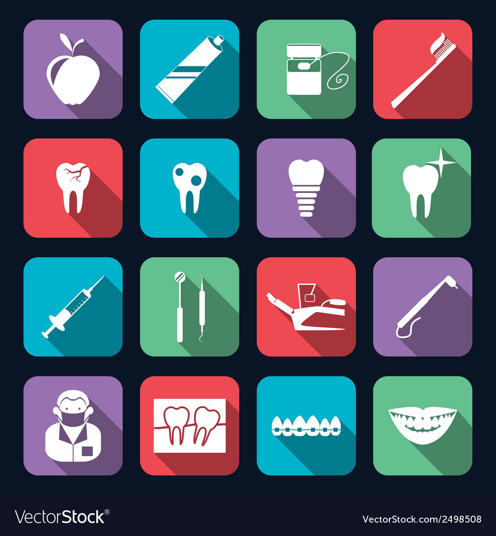 Dental icons flat vector | Price: 1 Credit (USD $1)