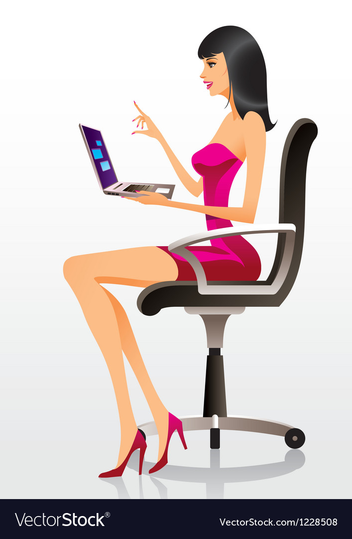 Fashion model presenting a new laptop vector | Price: 3 Credit (USD $3)