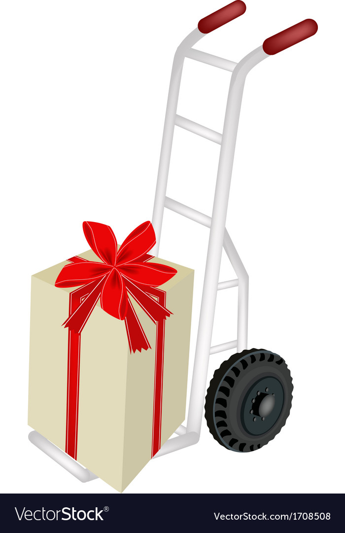 Hand truck loading a beautiful gift box vector | Price: 1 Credit (USD $1)