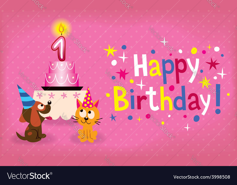 Happy first birthday card vector | Price: 1 Credit (USD $1)
