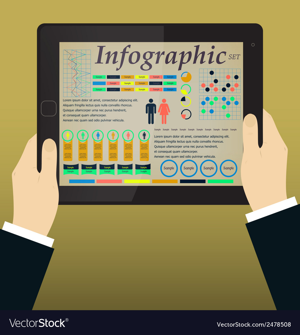Infographics on the tablet pc  hands vector | Price: 1 Credit (USD $1)