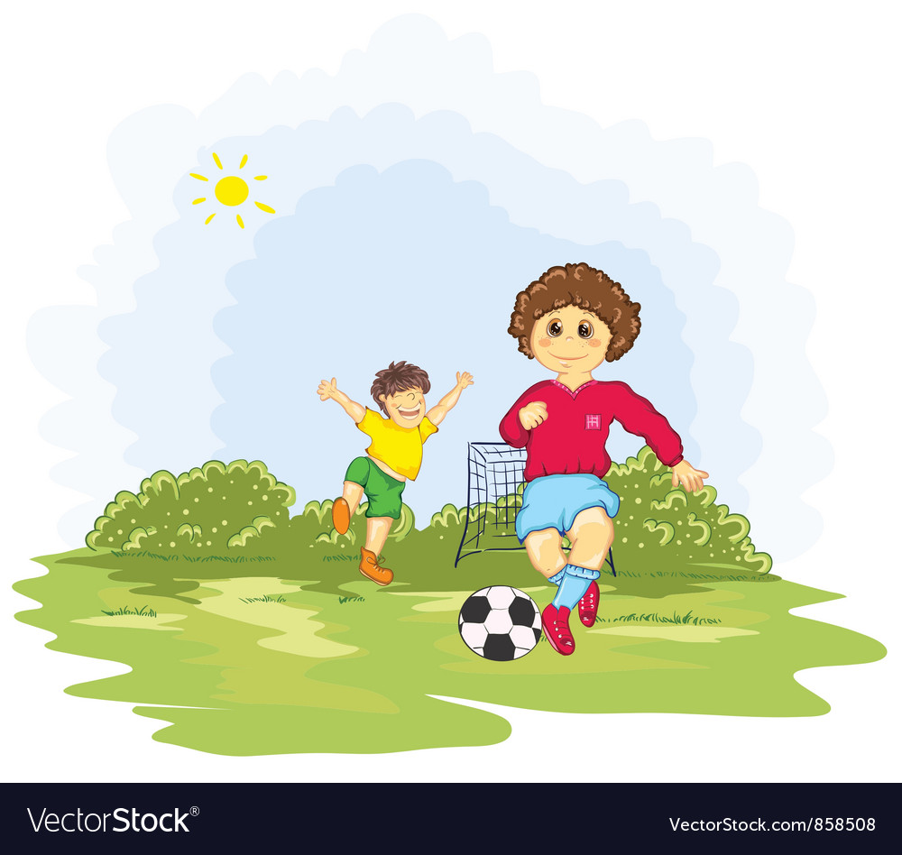 Kids playing soccer vector | Price: 3 Credit (USD $3)