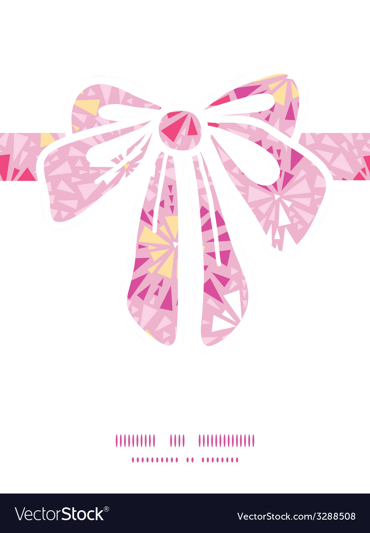 Pink abstract triangles gift bow silhouette vector | Price: 1 Credit (USD $1)