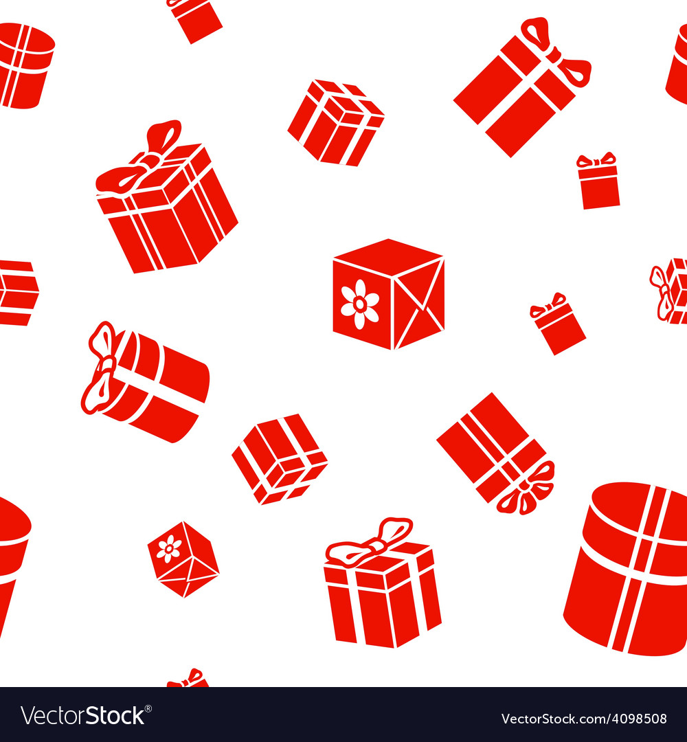 Seamless gift pattern red gift boxes on vector