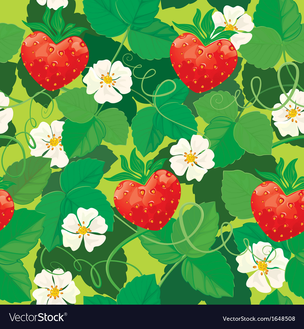 Seamless pattern strawberries in heart shapes with vector | Price: 1 Credit (USD $1)