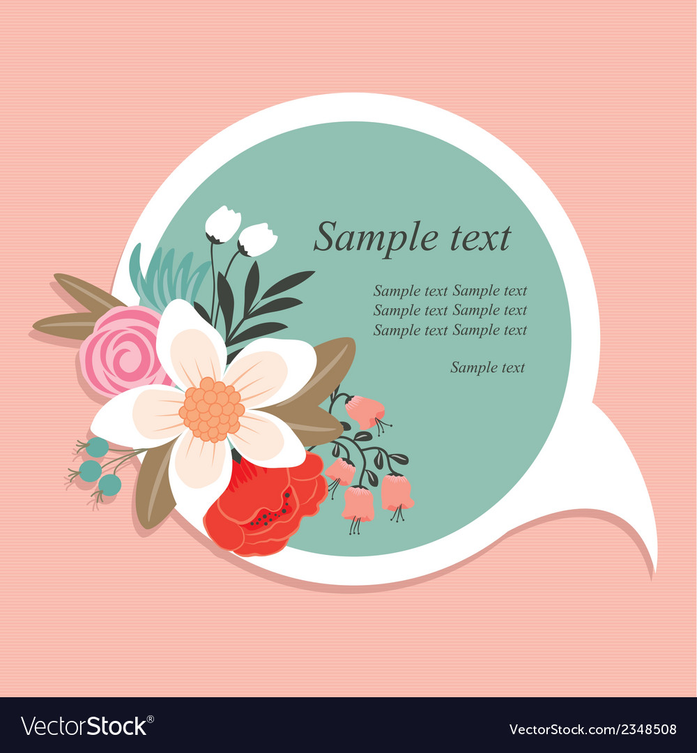 Speech bubble with flowers vector | Price: 1 Credit (USD $1)