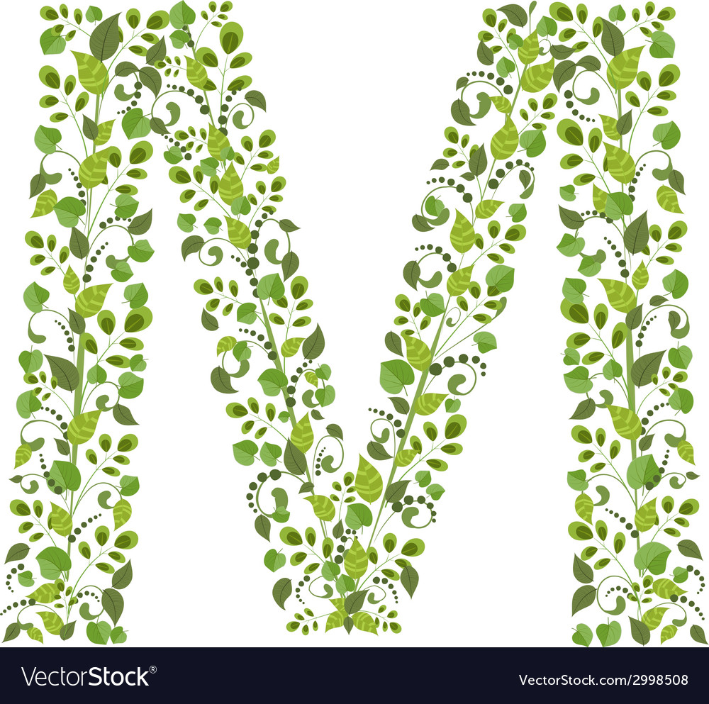 Spring green leaves eco letter m vector | Price: 1 Credit (USD $1)