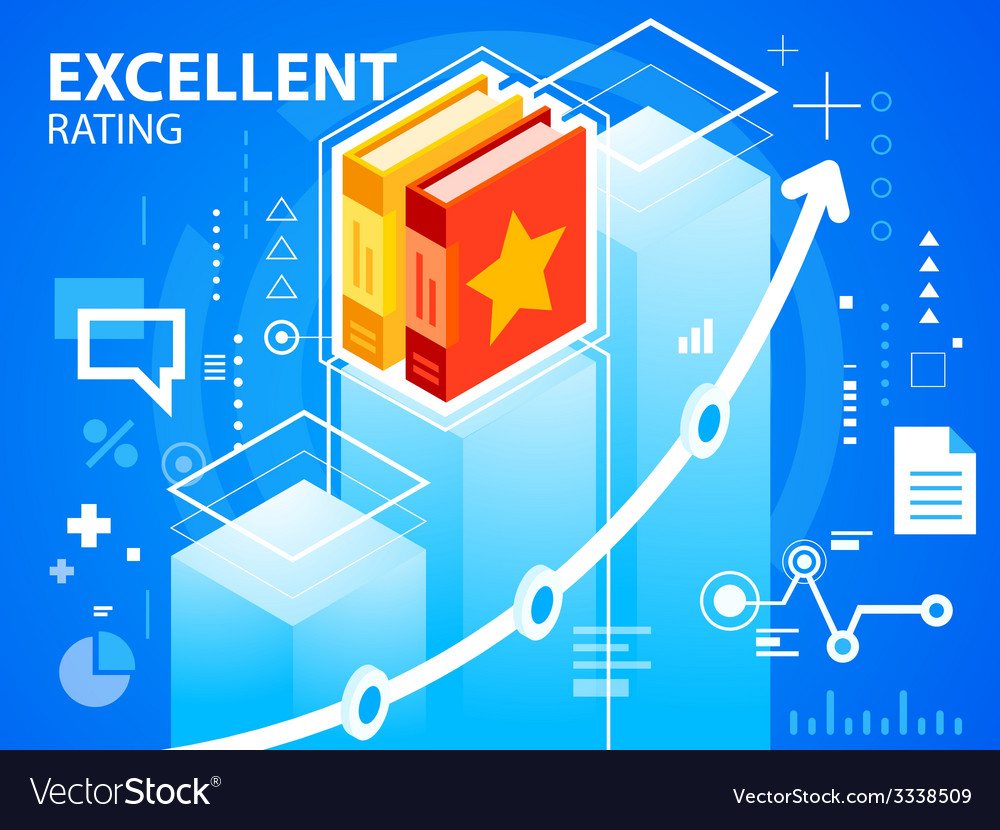 Bright excellent rating and books on blue ba vector | Price: 3 Credit (USD $3)