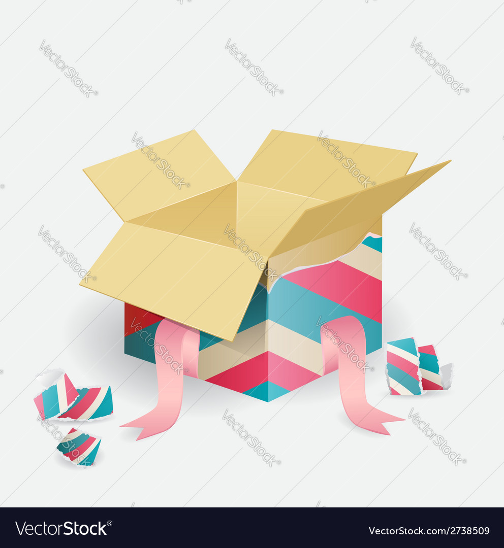 Colorful opened striped gift box vector | Price: 1 Credit (USD $1)