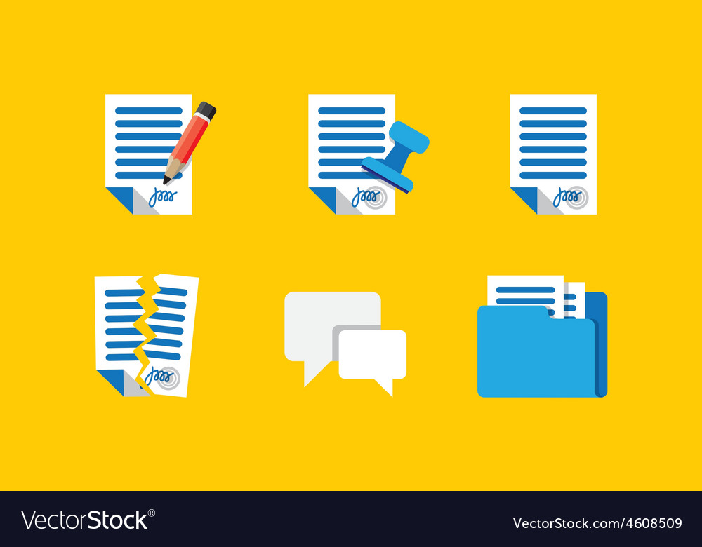 Contract icons vector | Price: 1 Credit (USD $1)